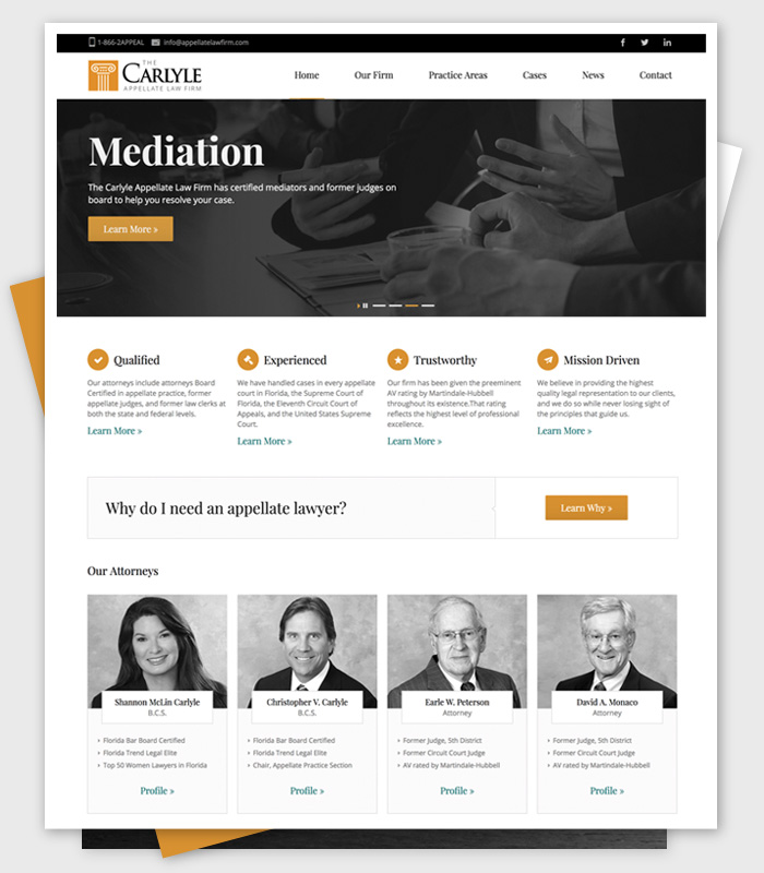 Web design / Carlyle Law Firm / Paul Compton
